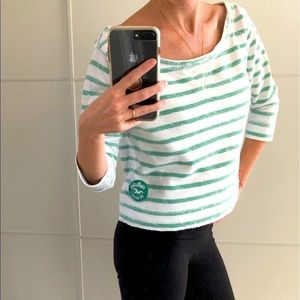 HOLLISTER Green White Striped Cropped Pullover Top
